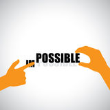 Vector design of transforming impossible to possible. This vector also represents positivity, optimism, never-say-die attitude, determination Royalty Free Stock Image