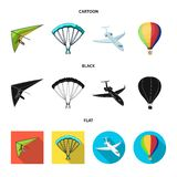 Isolated object of transport and object logo. Collection of transport and gliding  stock symbol for web. vector illustration