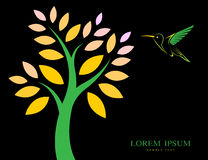 Vector design of trees and hummingbird Royalty Free Stock Photos