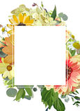 Vector design vertical card Rectangular copy space. Yellow   Royalty Free Stock Image