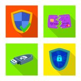 Isolated object of virus and secure sign. Collection of virus and cyber stock vector illustration. royalty free illustration