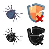Isolated object of virus and secure sign. Collection of virus and cyber stock symbol for web. stock illustration