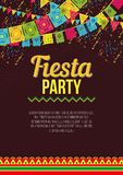 Stylish colorful poster calling to Fiesta. Vector design of vivid promotional poster about Fiesta party in bright colors and ornaments on brown backdrop Stock Photos