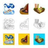 Vector design of weather and distress symbol. Set of weather and crash vector icon for stock. Vector illustration of weather and distress sign. Collection of royalty free illustration