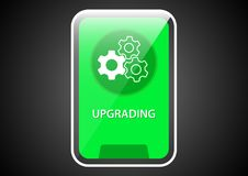 Upgrading glossy banner outline icon. Vector design of web banner with topic symbol inside royalty free illustration