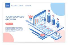 Vector design of website homepage with person increasing income of business. Your business growth isometric illustration.  stock illustration