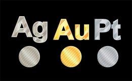 Vector designation of gold platinum silver round icons. Vector designation of gold platinum silver round icons Stock Photos