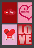 Vector Designs for Valentines Day Greeting Cards and Posters Stock Images