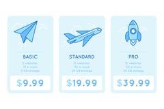 Vector Designschablone für die Preiskalkulation der Tabelle für Website Lizenzfreie Stockfotos