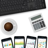 Vector desk with keyboard, mobile phones, calculator, cup of coffee. finance consultant, business analyst accounting. Workpalce. View from the top Vector Stock Photography