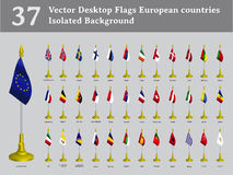 Vector desktop flags European countries isolated b Stock Images