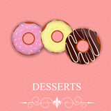 Vector dessert menu in Valentine`s day style Royalty Free Stock Image