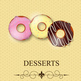 Vector dessertmenu Stock Afbeeldingen