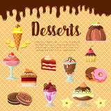 Vector desserts and cakes on chocolate waffle. Desserts vector pastry cakes, donuts and brownie tortes with ice cream on wafer and chocolate fondant. Cupcakes Stock Image