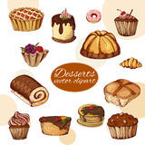 Vector desserts elements in hand drawn style. Delicious food. Art illustration.  Sweet pastry for your design in cafe menu, poster Royalty Free Stock Image