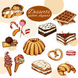 Vector desserts elements in hand drawn style. Delicious food. Art illustration.  Sweet pastry for your design in cafe menu, poster Royalty Free Stock Photography