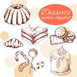 Vector desserts elements in hand drawn style. Delicious food. Art illustration. Stock Images