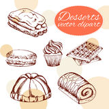 Vector desserts elements in hand drawn style. Delicious food. Art illustration. Royalty Free Stock Photo