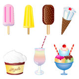 Vector Desserts and Ice cream Set. Vector Illustration set of Ice creams and Desserts royalty free illustration