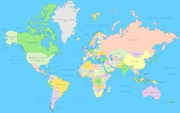 Political world map. Vector detail atlas in Mercator projection stock illustration