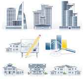 Vector detailed architecture icon set. Set of architecture related icons Royalty Free Stock Photo