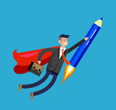 Vector detailed character businessman with startup Stock Image