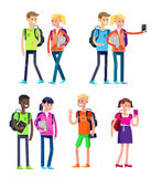 Vector detailed character flat design children students Royalty Free Stock Photos