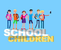 Vector detailed character flat design children students Stock Photos