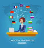 Vector detailed character Language translator. Concept with woman sitting on table with laptop and world map with flags of the world languages, cool flat Stock Image