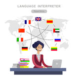 Vector detailed character Language translator. Concept with Language translator woman and world map with flags of world languages, Language translator royalty free illustration