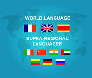 Vector detailed character Language translator. Concept with world map and flags of the world languages, cool flat  illustration Royalty Free Stock Photo