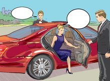 Rich and beautiful celebrities, blond woman in evening dress walking on a carpet with limousine. Red car. stock illustration