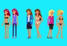 Vector detailed character woman dressed and undressed Stock Photos