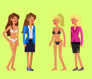 Vector detailed character woman dressed and undressed Stock Image