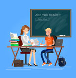 Vector detailed character woman teacher Royalty Free Stock Images