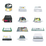 Vector detailed computer parts icon set Royalty Free Stock Photos
