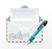 Vector detailed envelope and ink pen Royalty Free Stock Photo