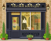Vector detailed flat design vintage boutique facade. Cool graphic fashion shop exterior. Vector illustration stock illustration