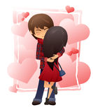 Vector detailed flat illustration of hugging couple on hearts background. Girl is standing back to us Stock Photography