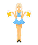 Vector detailed flat illustration of oktoberfest bavarian girl in national dress holding two beer mugs Royalty Free Stock Images