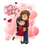 Vector detailed flat valentines day card with hugging couple and lettering on hearts background Royalty Free Stock Image