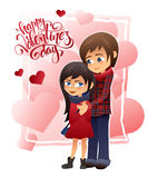 Vector detailed flat valentines day card with hugging couple and lettering on hearts background Royalty Free Stock Photo