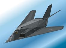 Detailed Isometric Illustration of an F-117 Nighthawk Stealth Fighter Airborne Stock Photos