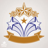 Vector detailed luxury symbol. Aristocratic heraldry emblem. With five pentagonal stars and wavy ribbon. Stylized brand icon, award concept graphic design Royalty Free Stock Image