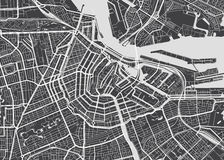 Vector detailed map Amsterdam Royalty Free Stock Photography