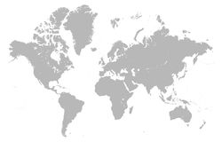 Vector detailed Mercator Grey World map. Vector illustration of a grey detailed World map with Mercatore Projection with all Country as separated shapes in stock illustration