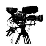 Vector detailed professional television video camera isolated on white Stock Photos