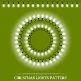 Vector detailed realistic Christmas white lights and circle frames on green background Stock Image