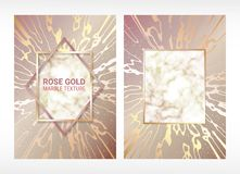 Vector. Detailed texture of marble. Gold geometric frame. Background of rose gold. Wedding card. Grainy surface. stock illustration
