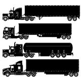 Vector detailed trucks silhouettes set Stock Photo